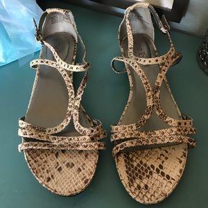 Me Too snake stud beige brown gladiator sandals